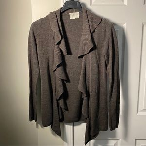 Donna Morgan | Brown Ruffle Front Cardigan Sz S